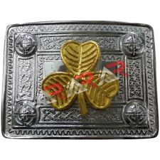 Scottish Kilt Belt Buckle Celtic Design with Irish Shamrock Badge Gold