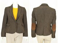 Womens ZARA Wool Tweed Blazer Jacket Elbow Patches Brown Hunting Size L