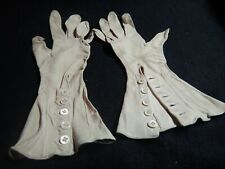 Antique kid leather ladies evening gloves w opalescent pearl buttons