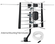 Digital Outdoor / Indoor Attic HDTV Antenna 80 Miles Range with Mounting Pole