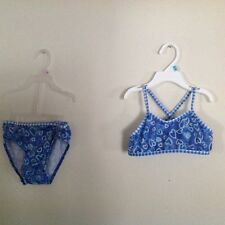 Girls Size 5 2 PC  Bikini Bathing Suit Beautiful Hearts and Sparkles Gently Used