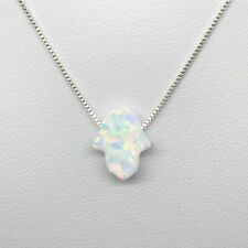 925 Sterling Silver Small White Opal Hamsa Hand Of Fatima Protection Necklace