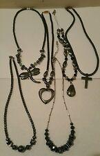 Hematite Necklace Lot Cross Teardrop Heart Butterfly Pendants Facet Cut Onyx?