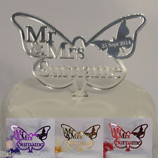 Butterfly Wedding Cake Topper Personalised Mr & Mrs or ANY TITLES Mirror Acrylic