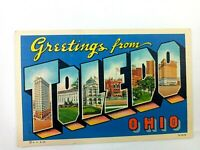 Vintage Postcard Greetings from Toledo Ohio Downtown Scene