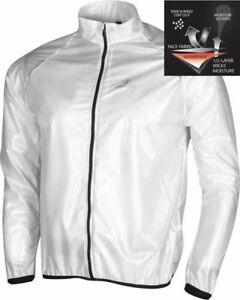 Deko Mens Cycling Rain Jacket Waterproof Breathable Reflective Night Glow White
