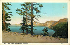 DB OR Postcard C703 Rim Road Crater Lake Oregon Prentiss American Art AS IS