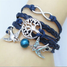 *UK* Ladies leather look birds anchor Multilayer vintage infinity bracelet blue