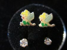 Tinkerbell Screw Back Child Character Earring with Stones in Silver