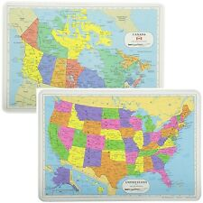 Painless Learning Educational Placemats Sets USA And Canda Maps Non Slip