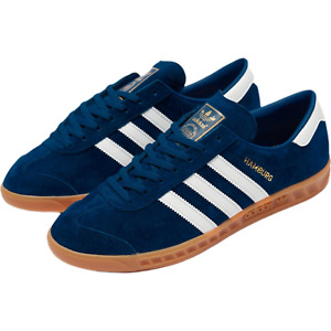 adidas Originals Hamburg Suede Shoes in Blue and White