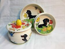 Dachshund Pet Bowls and Treat Jar/Cookie Jar