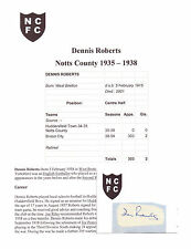 Dennis Roberts Notts County 1935-1938 Muy Raro Orig Firmada A Mano cutting/card