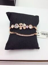 Betsey Johnson Rose Gold Tone 2 Pc Pink Crystal & Pave Skull  Bracelet W-4