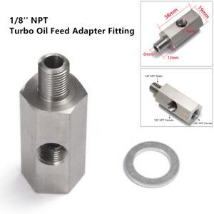 Oil Pressure Sensor Tee to 1/8'' NPT Adapter Turbo Supply Feed Line Gauge Superb