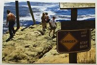 Vintage PHOTO Group Of People Ignoring Warning Sign At The Beach