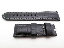 Panerai BLACK Croc Alligator Strap REGULAR 24mm / 22mm TANG BUCKLE 125mm / 75mm