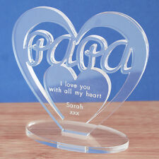 Personalised Heart Message Ornament Keepsake Papa Dad Father's Day Birthday Gift