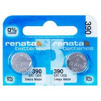 2 x Renata 390 Pila Batteria Orologio Mercury Free Silver Oxide SR1130SW 1.55V