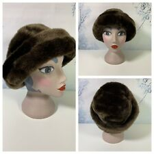 Ladies Brown Faux Fur Hat Winter Warm Smart Brim Snow Cozy Lined Elegant