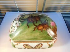 Oriental Hand Painted Animal Scene Bird Floral Decorated Large Porcelain Box