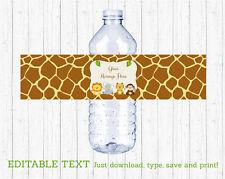 Cute Jungle Safari Animals Water Bottle Labels Printable Editable PDF