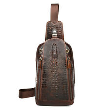 Men Sling Back Pack Genuine Leather Crocodile Pattern One Shoulder Chest Bag