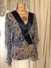 Saint Tropez West Vintage Small, Silk, Navy & White, Sheer Tunic Blouse Top NWOT