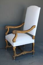 Antique French Louis armchair original gold gilt carved fauteuil bergere chair