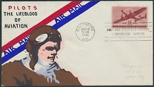 """#C28 """"PILOTS"""" MAE WEIGAND FDC HANDPAINTED CACHET EXTREMELY RARE BS1906"""