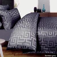 GREEK KEY Charcoal Grey Quilt Cover Set SUPER KING Dyed Jacquard Doona Duvet Set