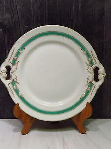 "Antique Old Paris Porcelain White Green Round Handled Platter 9.5"" x 10.5"""