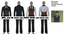 New Top Quality Black Butler Kuroshitsuji Sebastian Michaelis Cosplay Costume