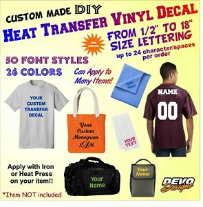 Custom DIY Heat Transfer Iron on Heat Press Vinyl Letters Numbers Phrases Decal