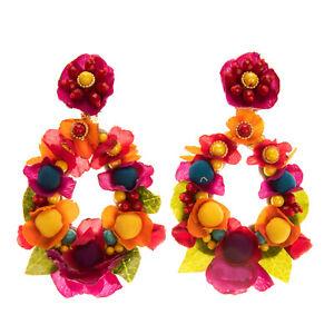 RRP €210 RANJANA KHAN Clip On Drop Earrings Flower Design Beads Leather Back
