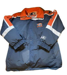 Vintage Starter Chicago Bears Trench Coat Parka Jacket XL NFL Duck Down 80s 90s