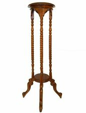 EARLY 20TH C VINT JACOBEAN HAND CARVED MAHOGHANY BARLEY TWIST TALL PLANT STAND