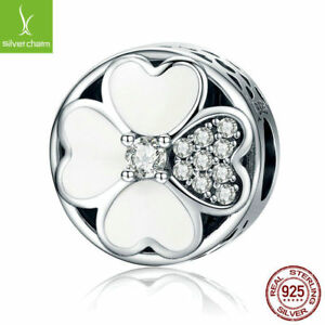 Authentic 925 Sterling Silver Heart-Shaped White Petals of Love Beads fit Chain