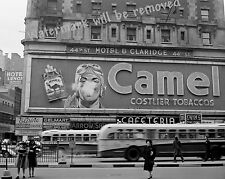Photograph New York Times Square Smoking Camel Cigarette Sign Year 1943 8x10