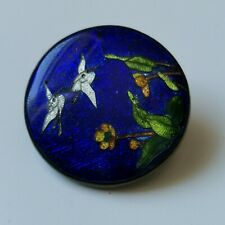Antique Japanese cloisonne brooch with cranes
