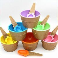 Cream Cup Dessert Container Holder With Spoon Ice Cream Scoops Ice Cream Bowls