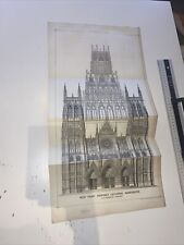 Antique Architect Plate Proposed Cathedral Manchester Building News 1876