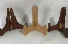 """3 Lot Wood Display Stand Photo Card Art Wooden Used Average 4"""" Tall"""