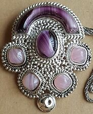 Christian Dior Germany 1971 Henkel & Grosse Necklace Brooch Pin Amethyst Glass
