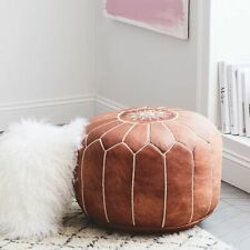 Moroccan Pouf - Handmade Leather - 100% Natural Leather Pouf - Vintage Pouf