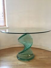 Glass dining table with spiral feature pedestal - Excellent condition