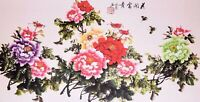 100% ORIENTAL ASIAN FINE ART CHINESE WATERCOLOR PAINTING-Peony flowers&Butterfly