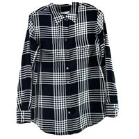 Equipment Femme Womens Size Small Silk Plaid Button Down Blouse Top Black White