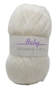 James C Brett Baby Shimmer 4 Ply Knitting Yarn White