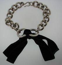 WOW Alexander McQueen Metal & Velvet Bow Link Necklace Made in Italy